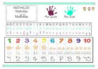 Sous main nombres, lettres alphabets, prénoms, main gauche, main droite, chemin des souris