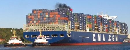 Porte conteneurs géant Bougainville de l'armateur CMA CGM