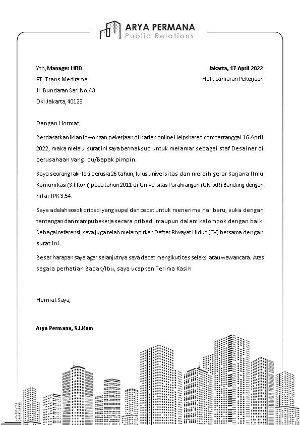 Contoh Surat Lamaran Kerja 22