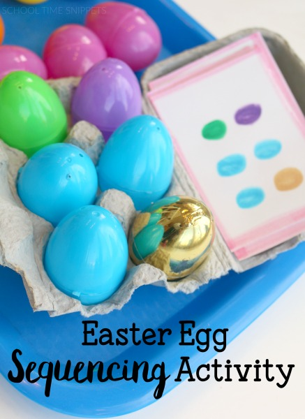 With plastic Easter eggs in abundance this time of year, it is the perfect time to use them for various learning and play activities.  Set up a scavenger hunt or work on sequencing and visual discrimination skills.  This Easter Egg Sequencing Activity