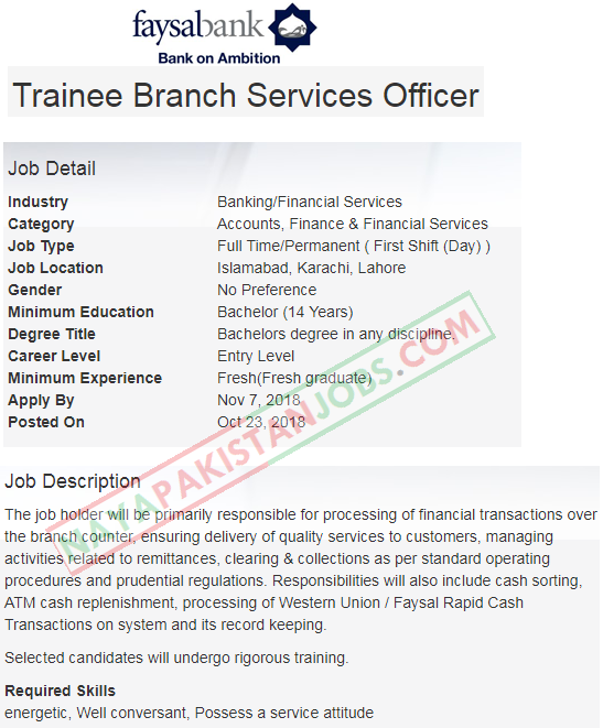 Latest Vacancies Announced in faysalbank.com Faysal Bank for Trainee Officers 2 November 2018 - Naya Pakistan