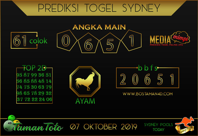 Prediksi Togel SYDNEY TAMAN TOTO 07 OKTOBER 2019