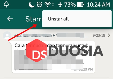 cara menghapus starred messages whatsapp