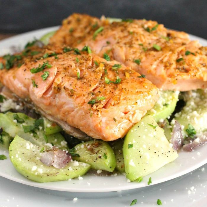 Chili-Lime Steelhead Trout Recipe with roasted chayotes, red onions, and mojo de ajo