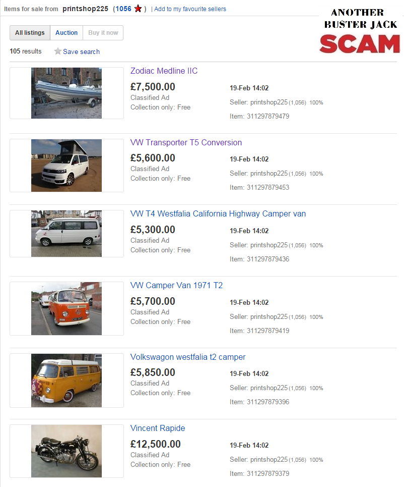 Jack Buster Jack Ebay Scam 99 Vehicles Inc Classic Cars Caravans Tractors Motorcycles Fraud On Ebay 19 Feb 15