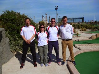 The Great Britain 3 Team of John Moore, Emily Gottfried, Richard Gottfried and Craig Patterson at the 2013 WMF World Adventure Golf Masters in Hastings