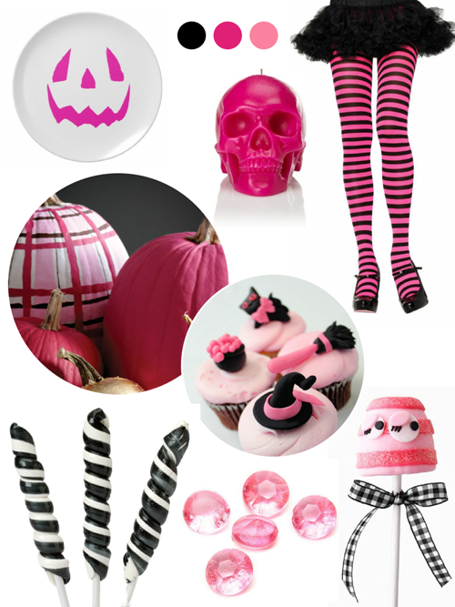 Pink and Black Halloween Party Ideas - via BirdsParty.com