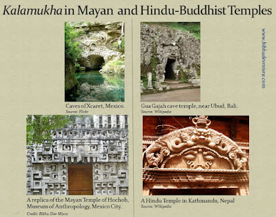 The depictions of the fearsome face called Kalamukha in Mayan and Hindu-Buddhist temples