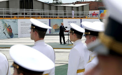 Speech of Vladimir Putin at a keel laying ceremony for the Vladimir Monomakh, Alexander Nevsky, Yekaterina Velikaya and Svyataya Maria multi-purpose high ice class supply vessels during a visit to Zvezda shipyard.