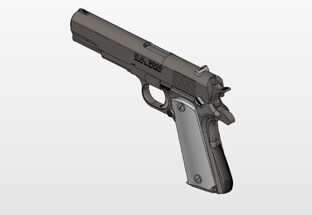 How to drawing 3D Assembly the Colt M1911A1 Pistol in solidworks