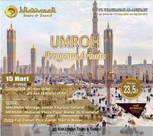Umroh Khazzanah Tour 15 Hari Arbain