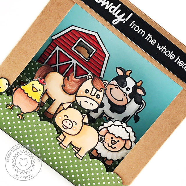 Sunny Studio Stamps: Barnyard Buddies and Missing Ewe Shadow Box Card by Amy Yang