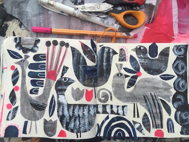 Tracey English, sketchbook, workspace, art, birds, collage
