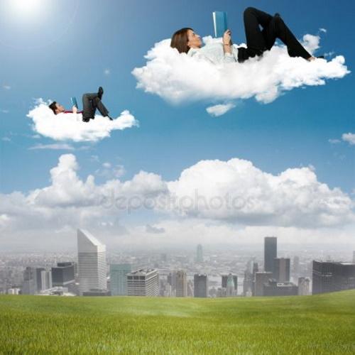 Pessoas lendo livros, flutuando em nuvens. #PraCegoVer