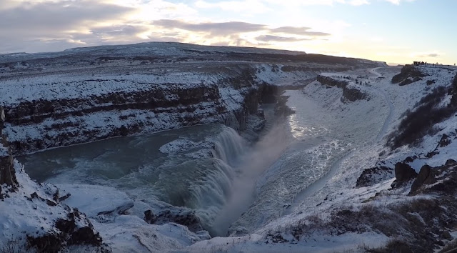 Gulfoss waterfall in winter season