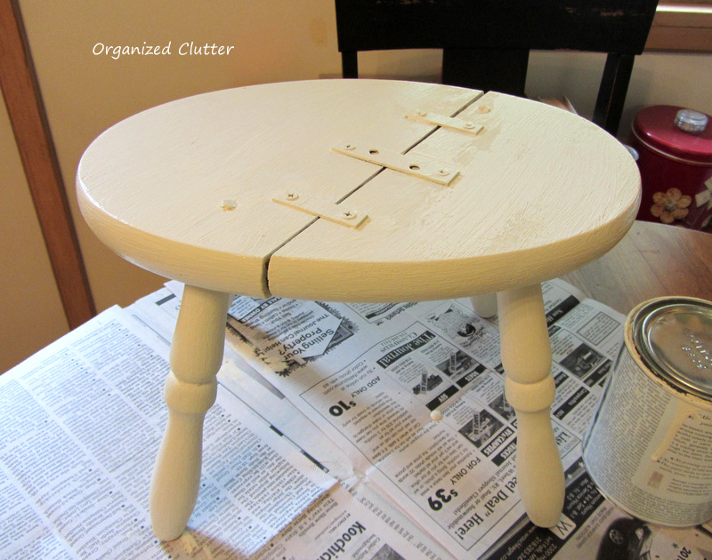 Rustic Fix For A Broken Stool www.organizedclutterqueen.blogspot.com