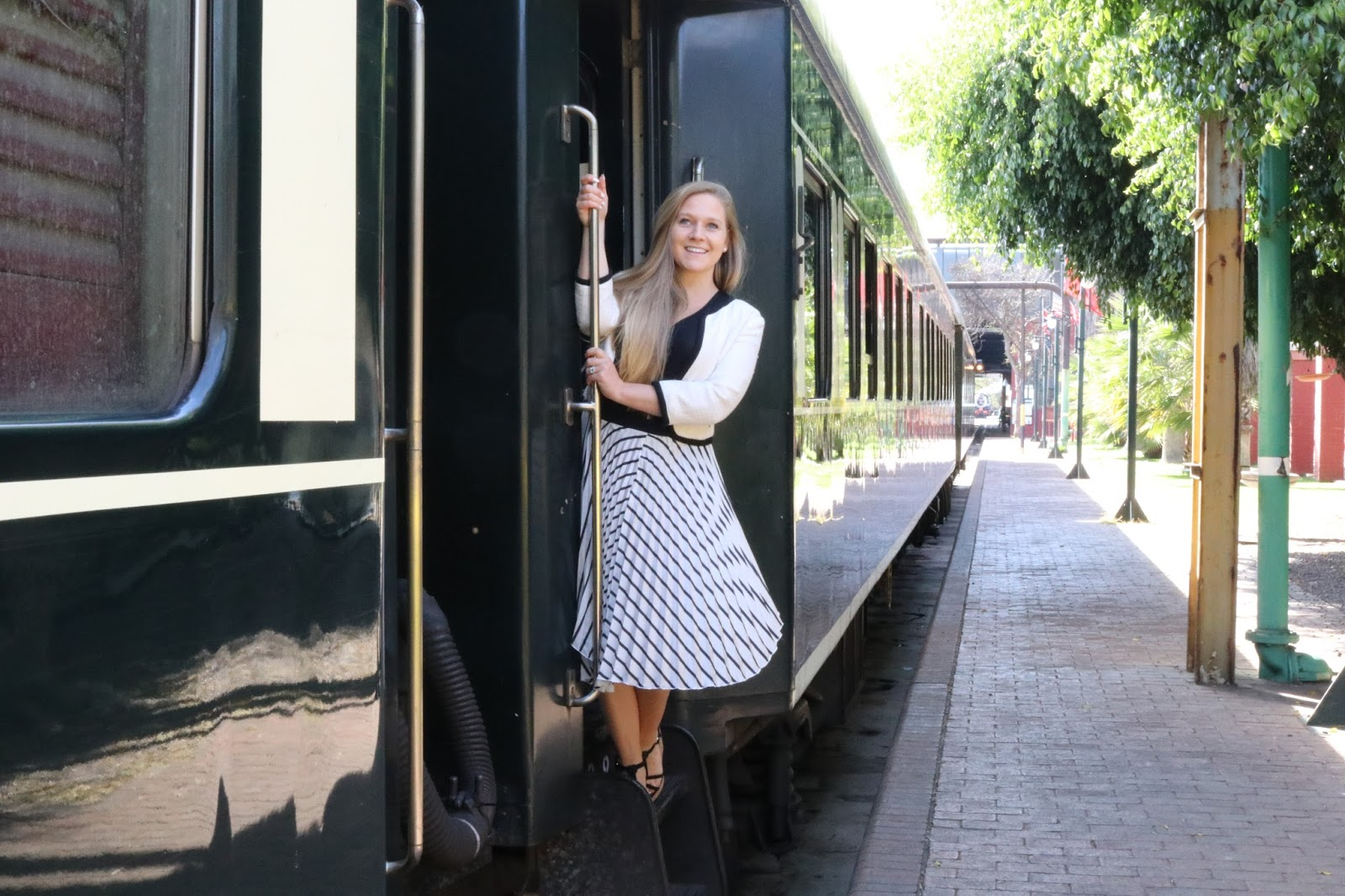 Blonde girl, Katie Heath on Rovos Rail, Pretoria to Durban, Train in Pretoria Station