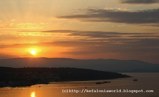 Sunset over Argostoli, kefalonia