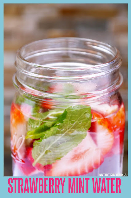 Strawberry mint infused water.