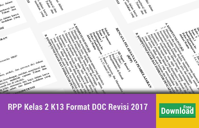 RPP Kelas 2 K13 Format DOC Revisi 2017