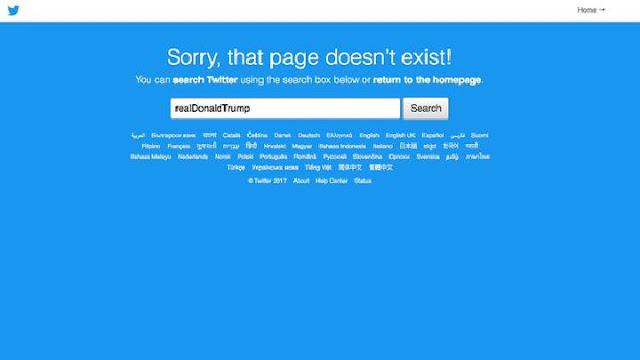 Akun Twitter Donald Trum Hilang