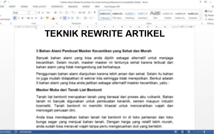 rewrite artikel