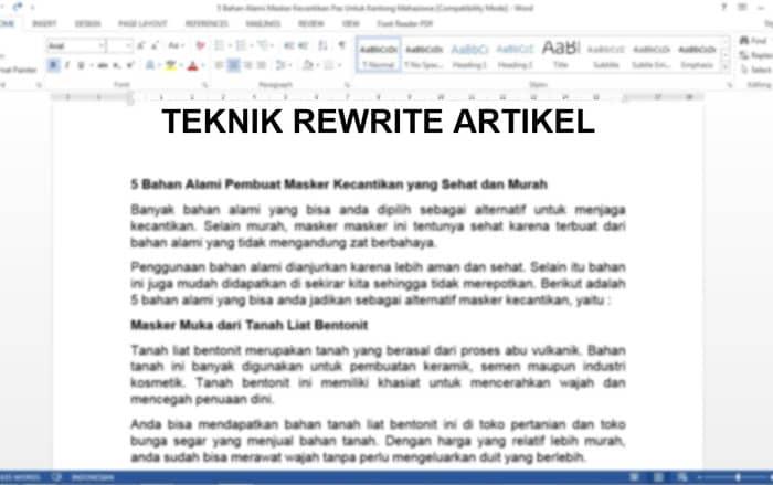 Teknik ReWrite yang Menghasilkan Artikel Baru dan Original, Berikut Contohnya