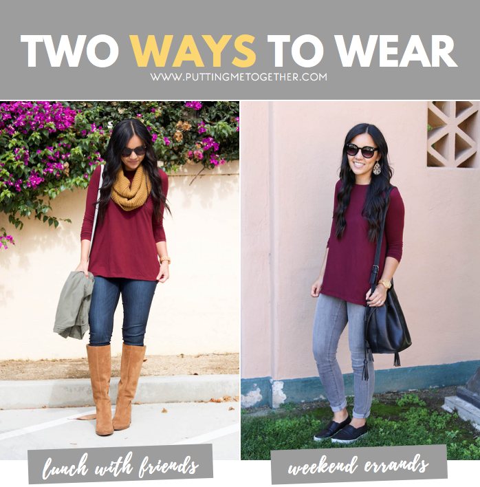 Two Ways to Wear a Maroon Top
