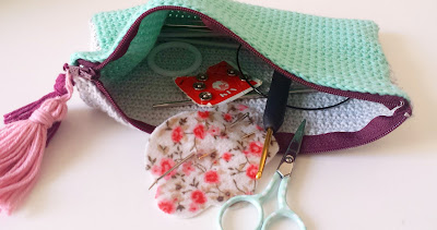 estuche de crochet tejido con algodon