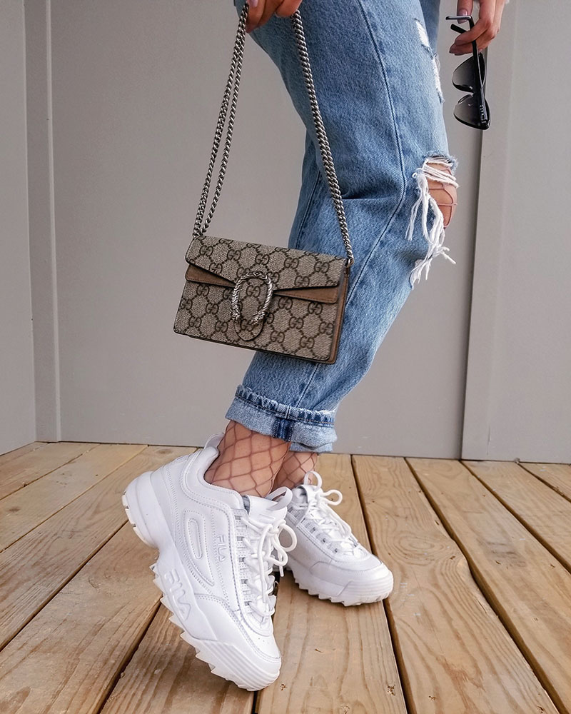 fila disruptor 2 sneakers outfit, gucci super mini bag outfit