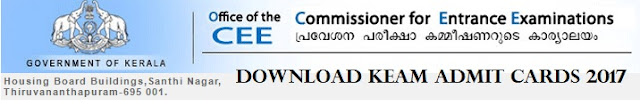 KEAM Admit Cards 2017 Download