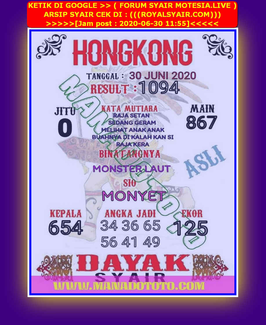 Kode syair Hongkong Selasa 30 Juni 2020 102