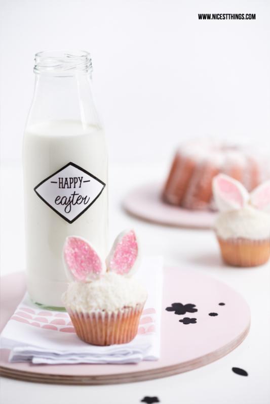 Osterhasen Cupcakes, Tischdeko zu Ostern selber machen