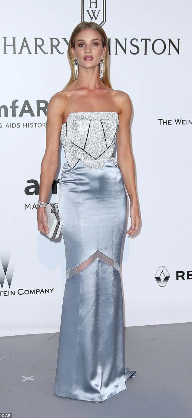 Rosie Huntington Whiteley stuns in a Swarovski studded corset at the amfAR Gala in Cannes