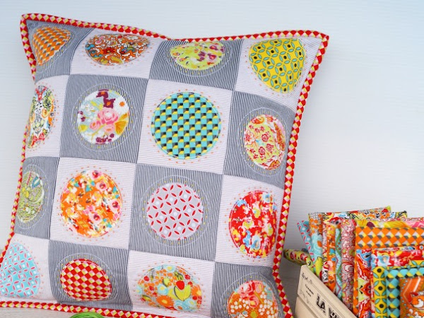 Bittersweet Fabric + Skittles Quilted Pillow