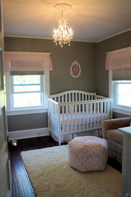 Pink grey shabby chic baby girl nursery
