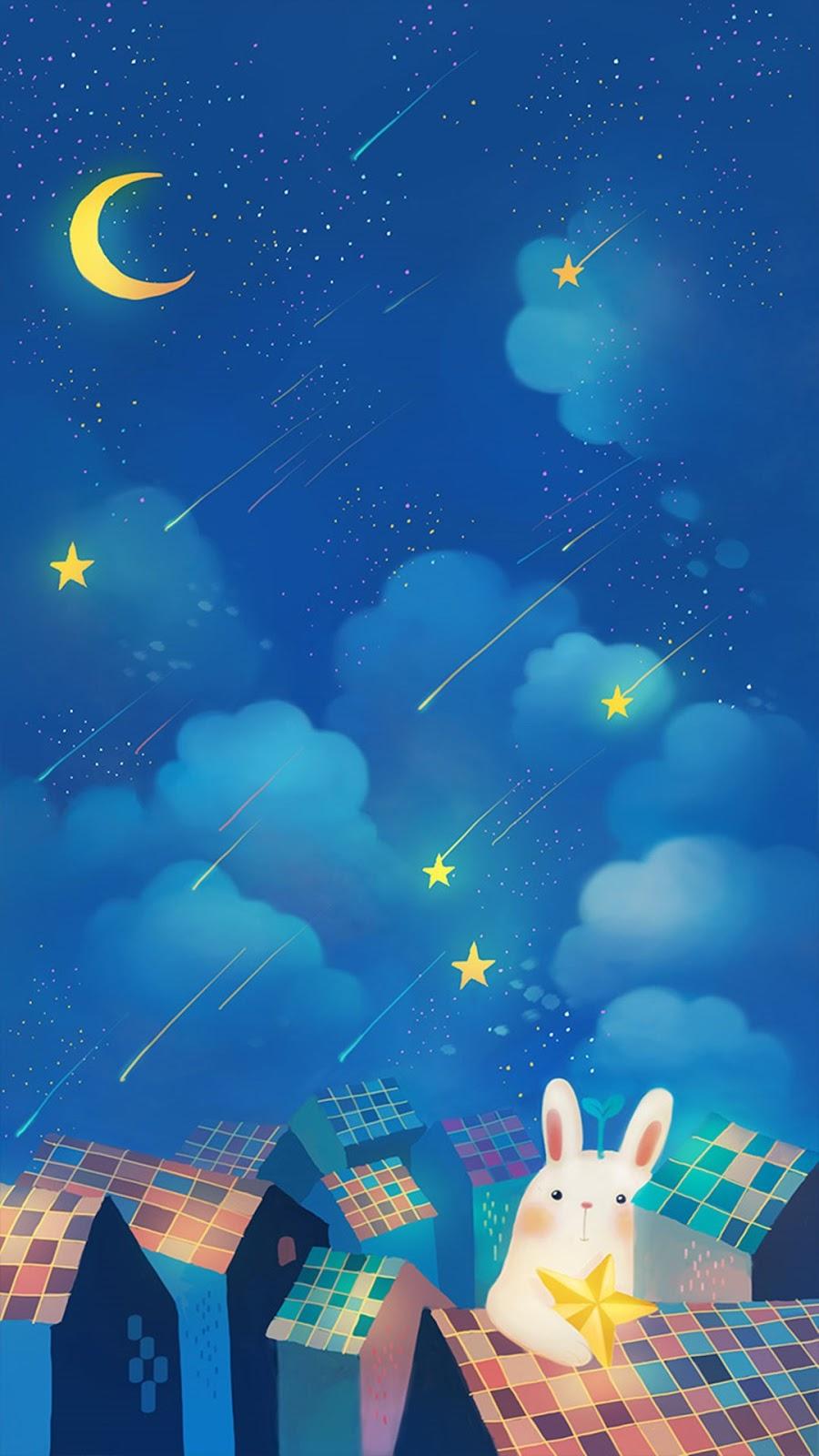 Romantic Night Moon Star Clouds Sky Rabbit House Iphone 7