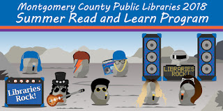 "Images of cartoon band members and sign that says ""Summer Read and Learn Program"""