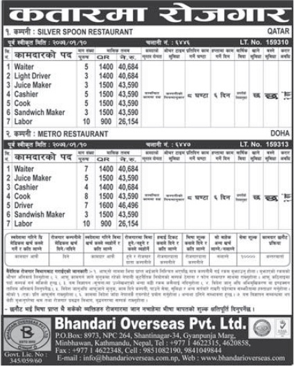 Jobs in Qatar for Nepali, Salary Rs 43,550
