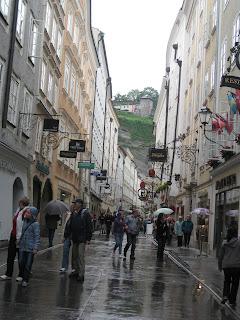 Rainy street in Salzburg