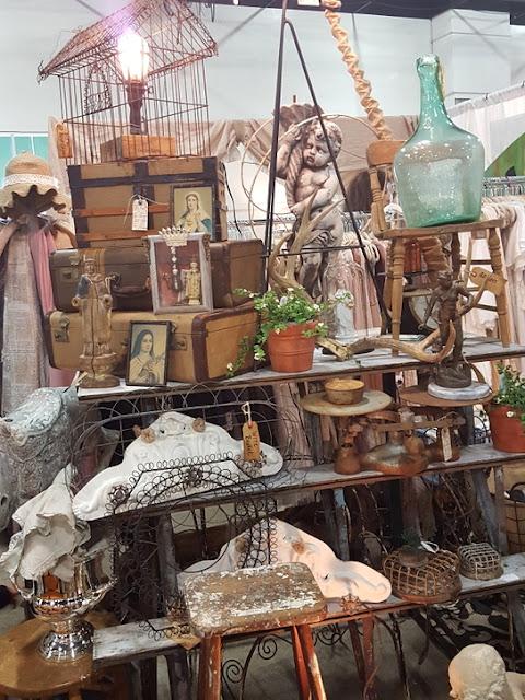 Lovely tiered display of vintage treasures