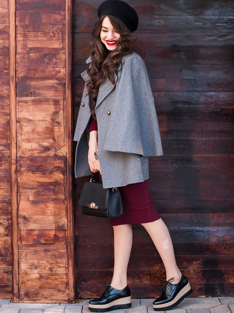 fashion blogger diyorasnotes grey coat vipme beret midi dressoxfords zaful red lips