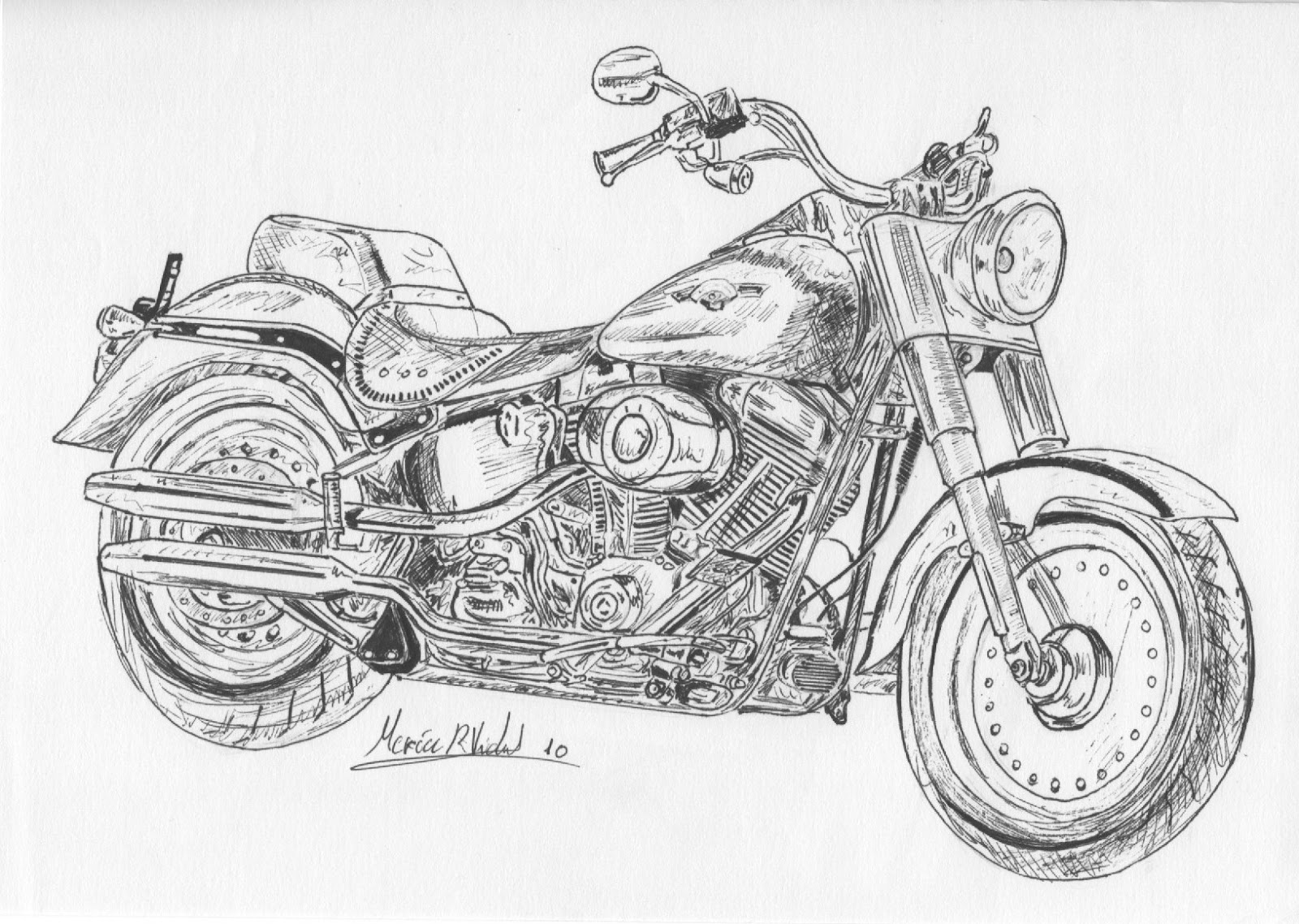 Drawings and sketches while studying: Motorcycle - Hardley ...