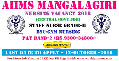 Staff Nurse Vacancy in AIIMS Mangalagiri (Central govt job)