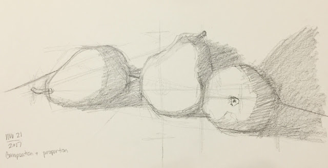 Daily Art 11-21-17 still life sketch in graphite number 25 - pears