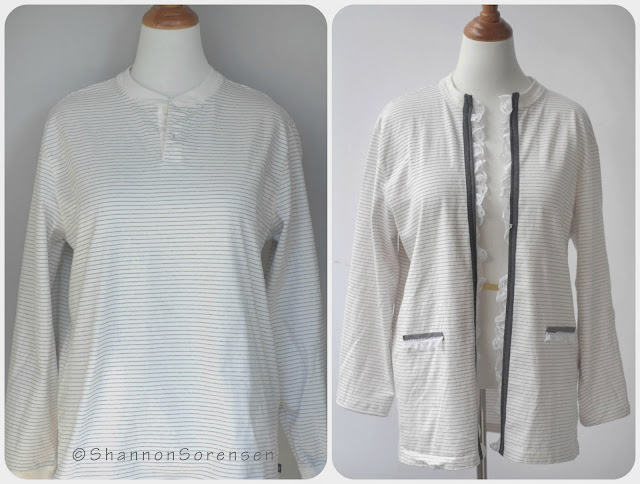 before and after refashioned shirt to cardigan