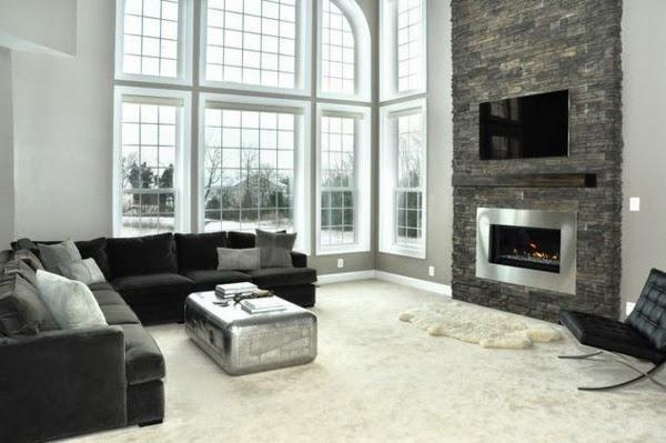 conseils d co et relooking mur en pierre naturelle dans le salon le charme. Black Bedroom Furniture Sets. Home Design Ideas