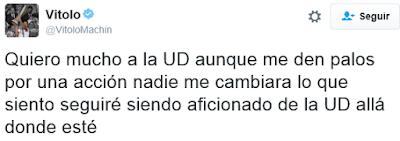 Tuit de Vitolo sobre su acción tras el partido