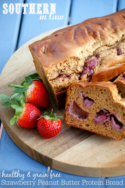 Gluten Free Strawberry Peanut Butter Protein Bread Recipe  high protein, low fat, low carb, gluten free, clean eating friendly, grain free, low fat, gluten free, peanut flour recipes, protein muffins