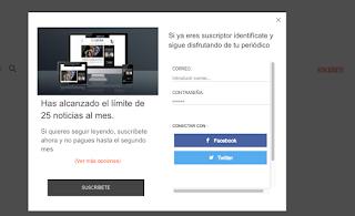 límite de 25 artículos al mes de El Español